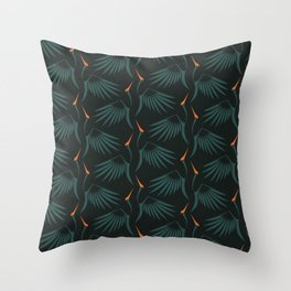 Flying Cranes Green Pattern Throw Pillow