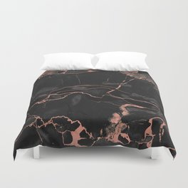 Black Marble and Rose Gold Duvet Cover