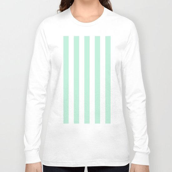 Mint green and White stripes-vertical Long Sleeve T-shirt