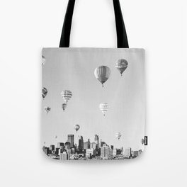 Another Minneapolis, Minnesota Skyline with Hot Air Balloons Over the City Tote Bag