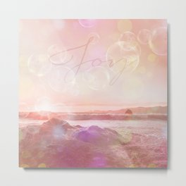 Joy at the sea bubbles sunst ocean typography art Metal Print