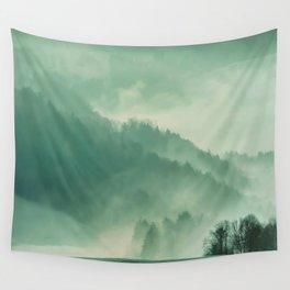 Turquoise Green Monochromatic Mist Misty Pine Forest Field Landscape Wall Tapestry