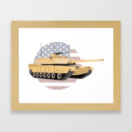 M1A1 Abrams Tank with American Flag Framed Art Print
