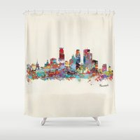 minneapolis Shower Curtains featuring Minneapolis Minnesota skyline by bri.buckley