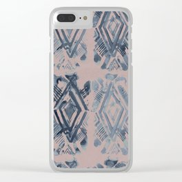 Simply Ikat Ink in Indigo Blue on Clay Pink Clear iPhone Case