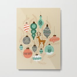 Holiday Ornaments in Aqua + Coral Metal Print
