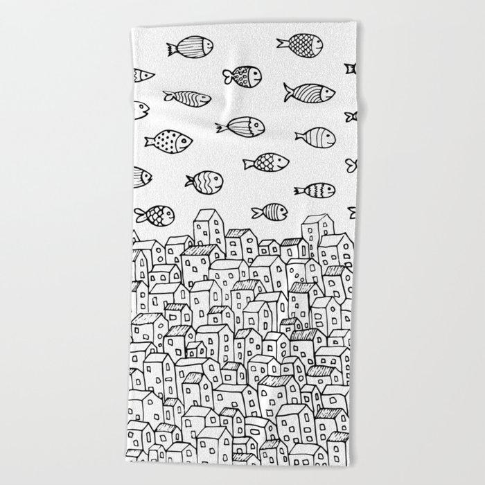 Underwater village Beach Towel
