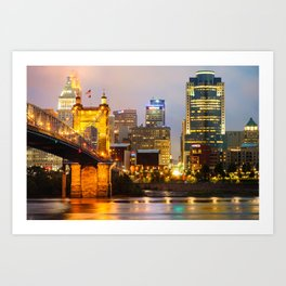 Cincinnati Skyline and the John A. Roebling Suspension Bridge Art Print