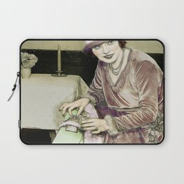 Vintage Woman With Hip Flask Laptop Sleeve