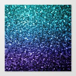 Beautiful Aqua blue Ombre glitter sparkles Canvas Print