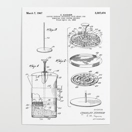 Coffee Filter Patent - Coffee Shop Art - Black And White Poster