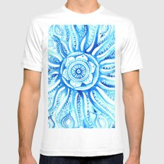 Bright Dial Blue MEDIUM White Mens Fitted Tee