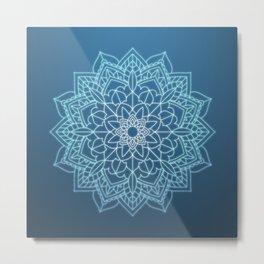 Beautiful Blue and White Mandala Clock and More Metal Print