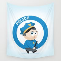 police Wall Tapestries featuring Police by Emir Simsek