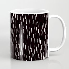 Dark Winter Night - White Strokes Lines on Black - Mix & Match with Simplicity of life Coffee Mug