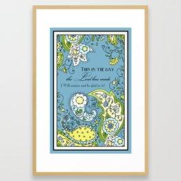 Hand Drawn Paisley Floral, Flower n Leaf Scroll Inspirational Text Framed Art Print