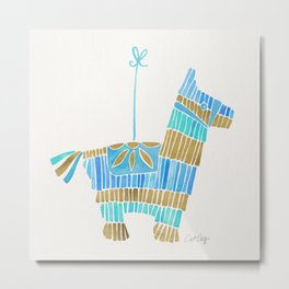 Mexican Donkey Piñata – Blue & Gold Palette Metal Print