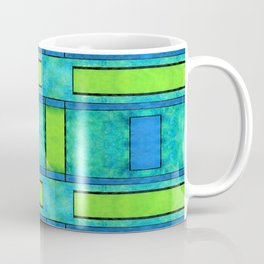 Painted blue and green parallel bars Coffee Mug