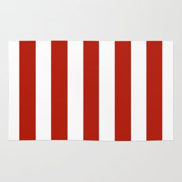 Tomato sauce red - solid color - white vertical lines pattern Rug
