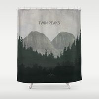 twin peaks Shower Curtains featuring Twin Peaks by avoid peril