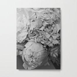 Peony Black and White 2 Metal Print