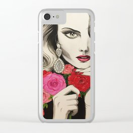 Girl with Roses Clear iPhone Case