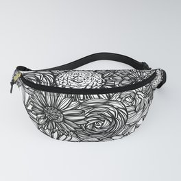 Black and White Flowers Fanny Pack
