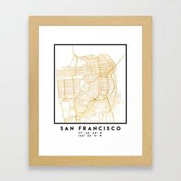 SAN FRANCISCO CALIFORNIA CITY STREET MAP ART Framed Art Print