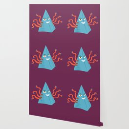 Weird Blue Pyramid Character With Tentacles Wallpaper