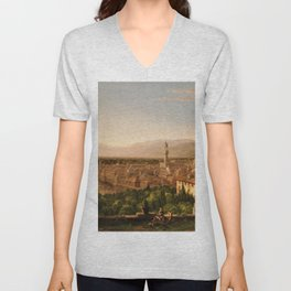 View of the Duomo and Florence, Italy by Thomas Cole Unisex V-Neck