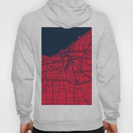Cleveland City Street Map Lake Erie Ohio Home Vintage Art Print Hoody