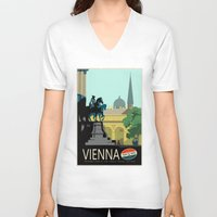 vienna V-neck T-shirts featuring Visit Vienna by Duke Dastardly
