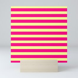marinière mariniere pink and yellow Mini Art Print