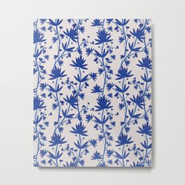 Porcelain Blue Watercolor Flowers Metal Print