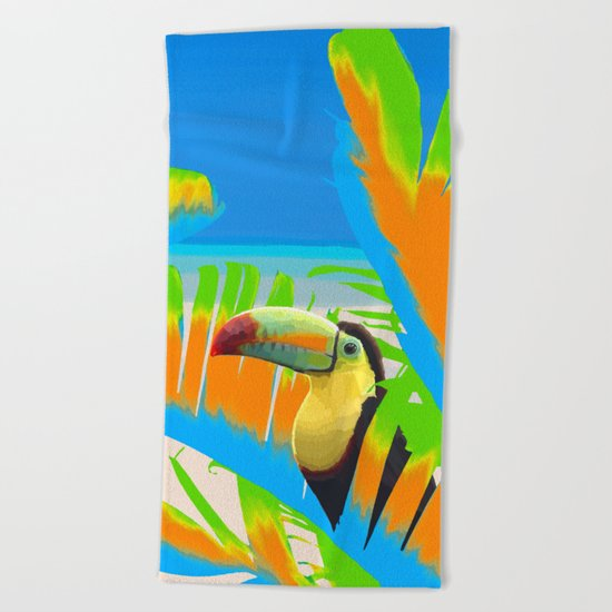Colorful Toucans Tropical Banana Leaves Pattern Beach Towel