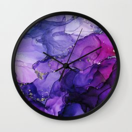 Violet Storm - Abstract Ink Wall Clock