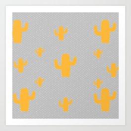 Mustard Cactus White Poka Dots in Gray Background Pattern Art Print