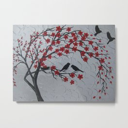 red black grey gray silver art japan japanese nest 2 birds cherry blossom trees blossoms wind Metal Print