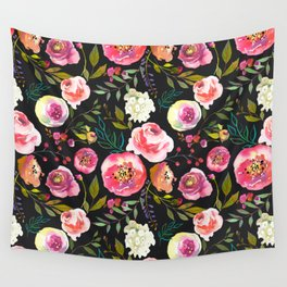 black and pink floral Wall Tapestry