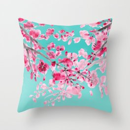 Cherry Blossom Aqua Throw Pillow