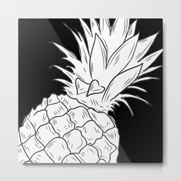 BLACK & WHITE PINEAPPLE Metal Print