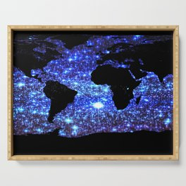 world Map Blue Swirl Galaxy Sparkle Serving Tray