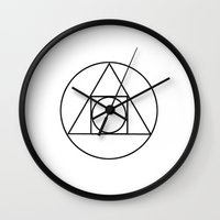 occult Wall Clocks featuring Occult Geometry Print by poindexterity