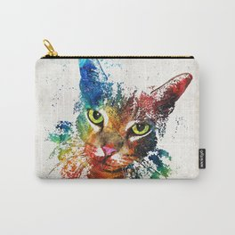 Colorful Cat Art by Sharon Cummings Carry-All Pouch