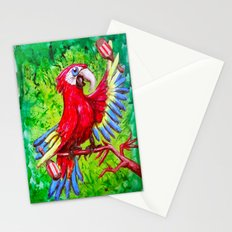 Tropical Parrot with Maracas  Stationery Cards