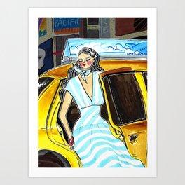 Yellow Cab at Time Square – Original Fashion art, Fashion Illustration, Fashion wall art Art Print