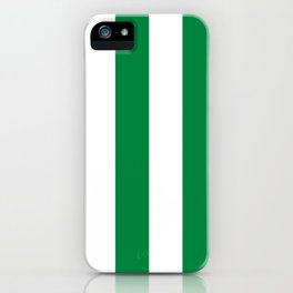 Classic Cabana Stripes in White + Kelly Green iPhone Case