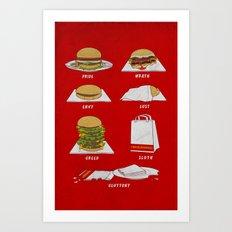 Seven Deadly Hamburgers Art Print