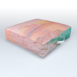 Beautiful: Aqua, Turquoise, Pink, Sunset Relaxing, Peaceful, Coastal Seashore Outdoor Floor Cushion
