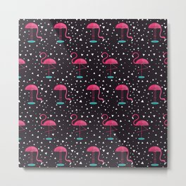 Flamingos Pattern Metal Print